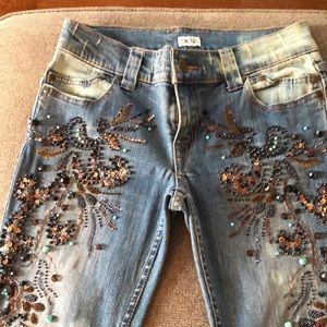 Beaded, Embroidered Jeans by Cache